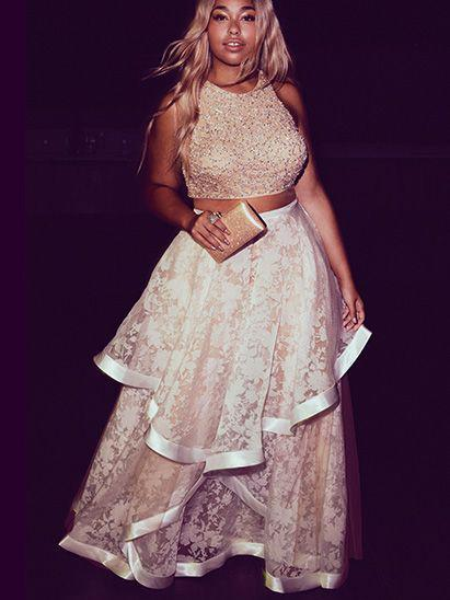 Sexy Plus Size Prom Dresses Two Piece Lace Ivory Prom Dress JKP001 .