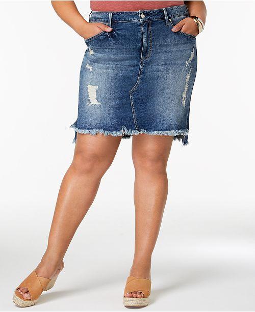 Seven7 Jeans Seven7 Trendy Plus Size Distressed Denim Skirt .