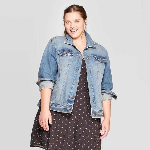 Women's Plus Size Jean Jacket - Universal Thread™ Medium Wash : Targ