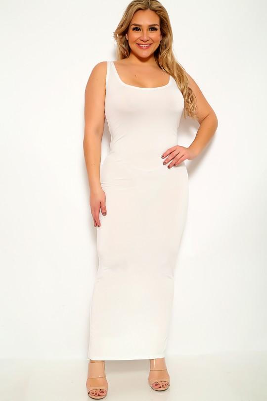 White Sleeveless Plus Size Maxi Dre