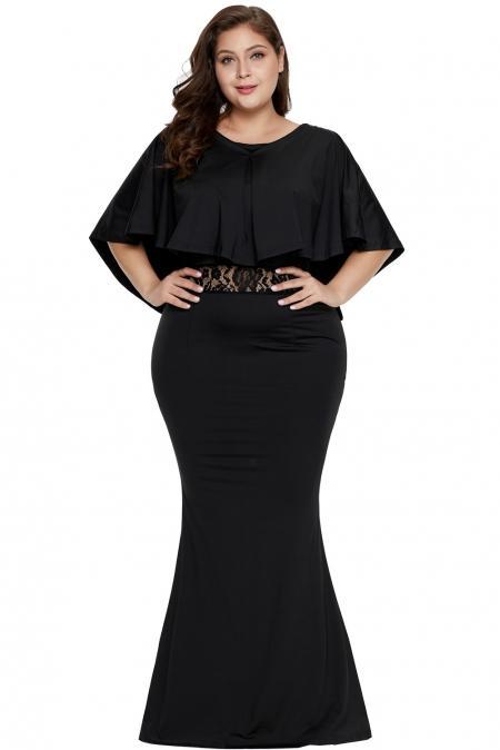 Black Cape Overlay Plus Size Maxi Dress mb611053-2 – ModeShe.c