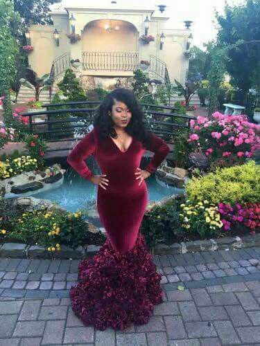 Burgundy Plus Size Prom Dresses Trumpet/Mermaid Floor-length Long .