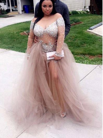 Plus Size Prom Dresses Sweep/Brush Train Tulle Rhinestone Long .