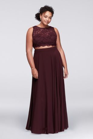 Scalloped Top Two-Piece Plus Size Dress | Piece prom dre
