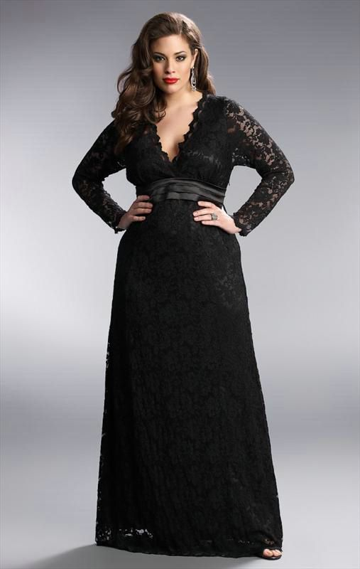 Black Lace Long Sleeve Plus Size Formal Dresses | Plus size .