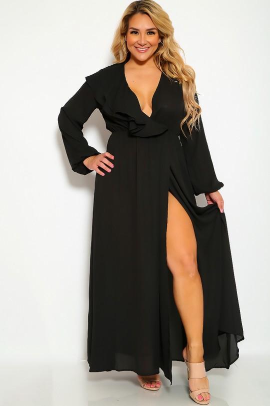 Sexy Black Slit Long Sleeve Flowy Plus Size Formal Party Dre