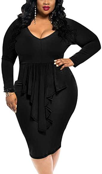 HIUPEB Women's Plus Size Sexy Long Sleeve Ruffle Club Bodycon Midi .