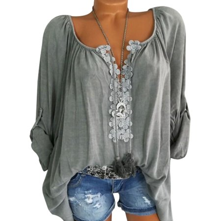 Sexy Dance - Plus Size Tops for Women Casual V Neck Tops Shirt .
