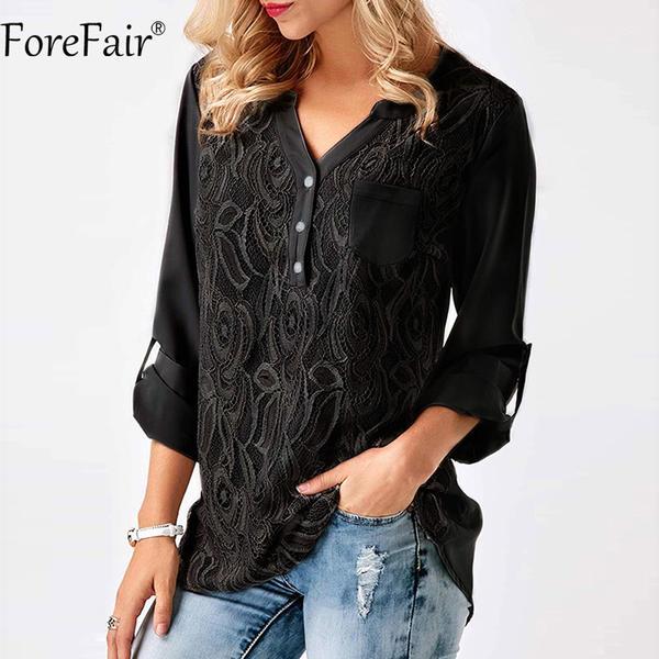 ForeFair S-3XL Women Plus Size Tops Back Chic Button Ruched Style La