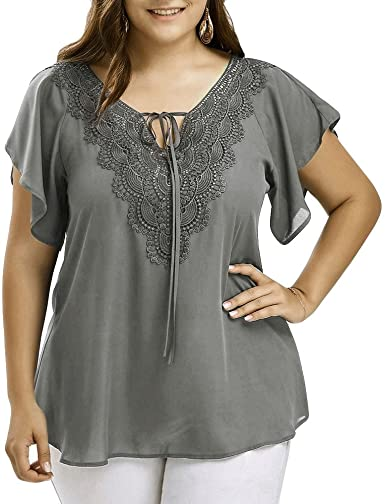 Amazon.com: Plus Size Tops, Women Summer Loose Curve Appeal Lace T .