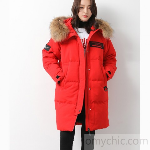 Casual red goose Down coat plus size clothing hooded winter jacket .