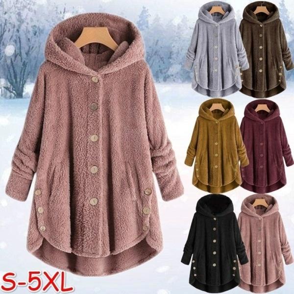 Fashion Women Coats Autumn Winter Outwear Tops Solid Color Plush .
