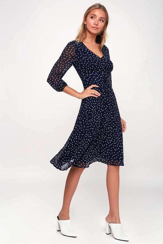 Chic Navy Blue Polka Dot Dress - Long Sleeve Dress - Midi Dre