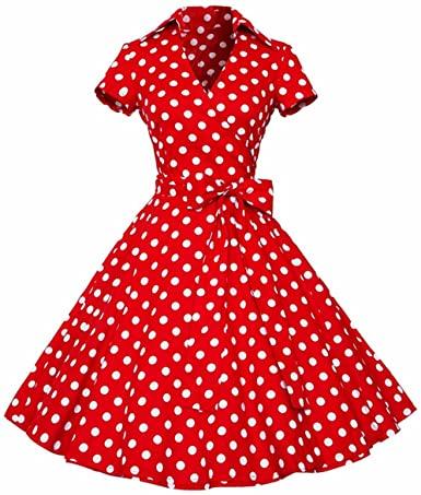 Amazon.com: Samtree Womens Polka Dot Dresses,50s Style Short .