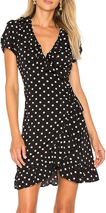 May&Maya Women's Polka Dot Wrap Midi Dress at Amazon Women's .