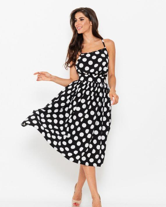 Summer polka dot dress Cocktail Dress Party dress Black dress | Et