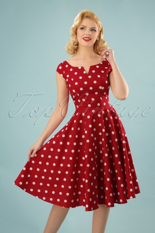 50s Nicky Polkadot Swing Dress in Red and Whi