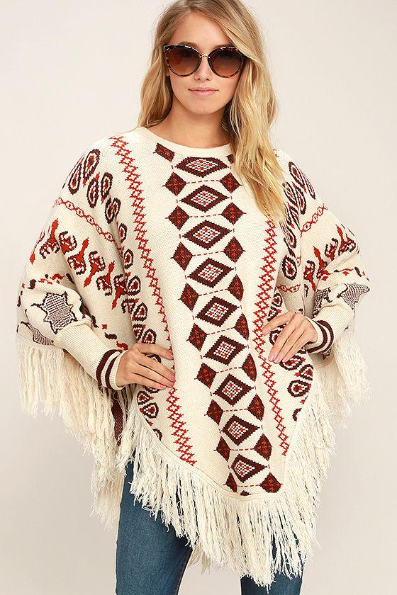 Boho Poncho - Retro Print Poncho - Poncho Sweater - Sweater Poncho .