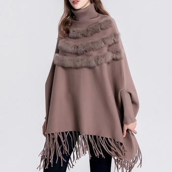 Ladies Autumn Pullover Tassel Turtleneck Batwing Sleeve Poncho .