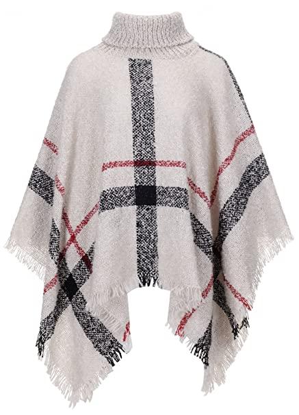 QZUnique Womens Turtleneck Poncho Sweater Knit Cape Pullover Shawl .