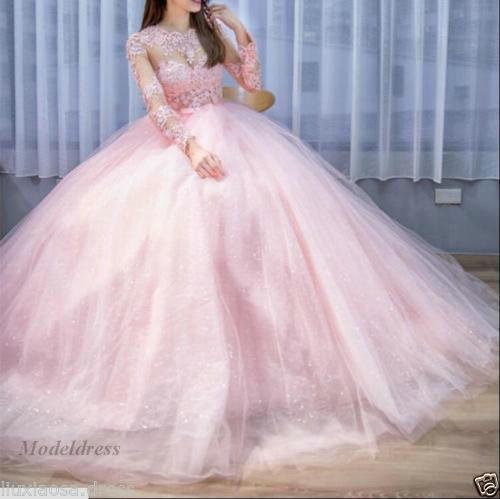 Pink Princess Wedding Dresses Illusion Long Sleeves Sheer Neck .