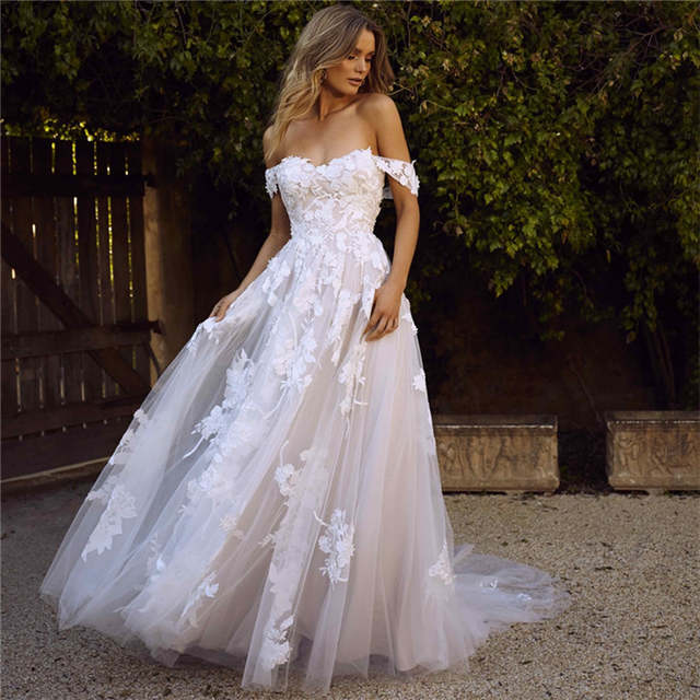 LORIE Lace Wedding Dresses 2020 Off the Shoulder Appliques A Line .
