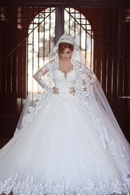 White Princess Ball Gown Long Sleeves Lace Diamond Wedding Dress .