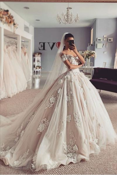 Appliques Flowers Princess Wedding Dresses Off-the-shoulder .