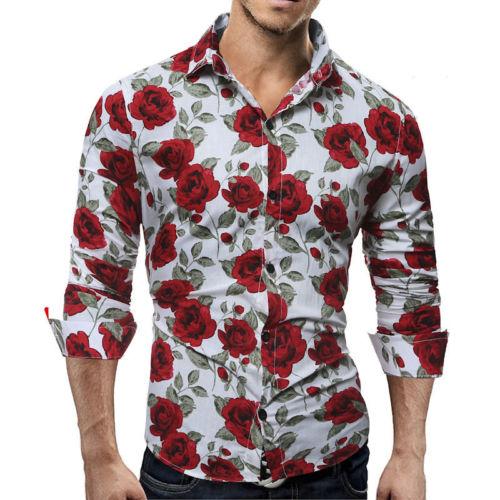 New Men's Luxury Long Sleeve Slim Fit Casual Rose Flower Printed .