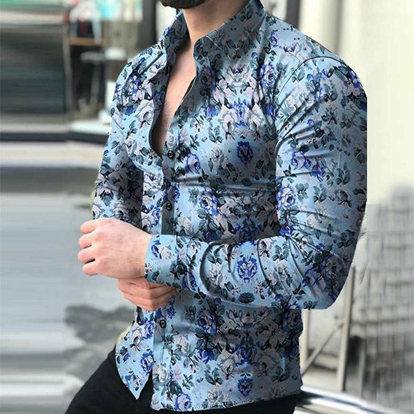 Men Fashion Spring Autumn Long Sleeve Floral Printed Shirts – widez