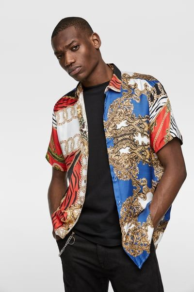 Patchwork printed shirt in 2020   Mens printed shirts, Printed .