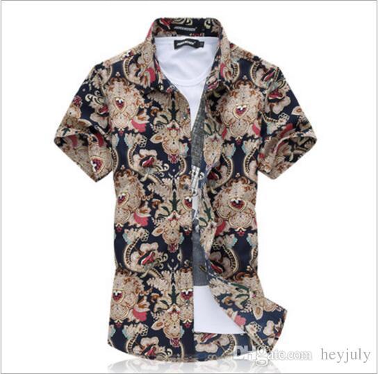 Brand Designer High Quality Summer Printed Shirt Mens Plus Size .