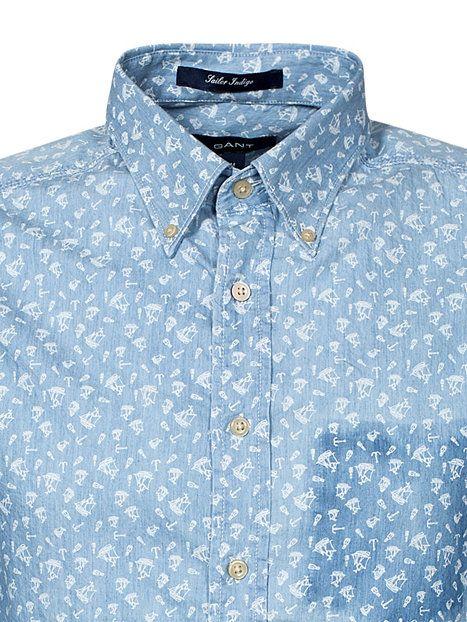 Printed Indigo Ls - Gant - Indigo - Shirts (Men) - Clothing - Men .