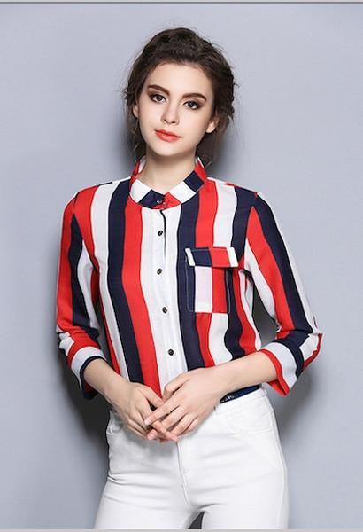 2017 spring stripe printed shirt women's long-sleeve shirt .