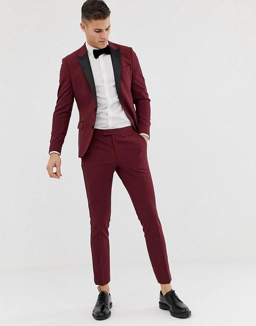 ASOS DESIGN skinny tuxedo prom suit in plum | AS