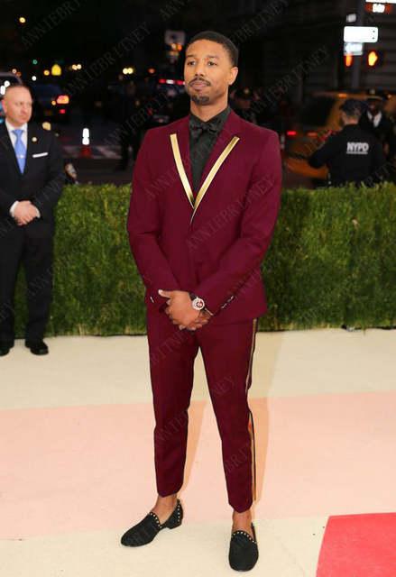 ANNIEBRITNEY Latest Coat Pant Designs Black Gold Lapel Men Prom .