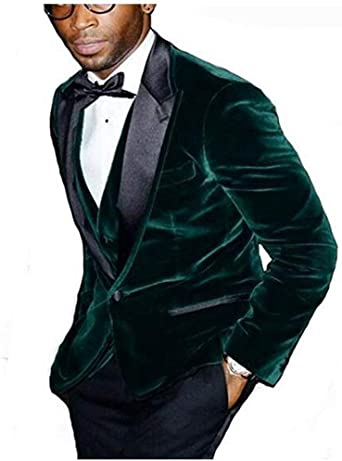 Botong Men's Slim Fit Green Velvet Wedding Suits Notch Lapel Groom .