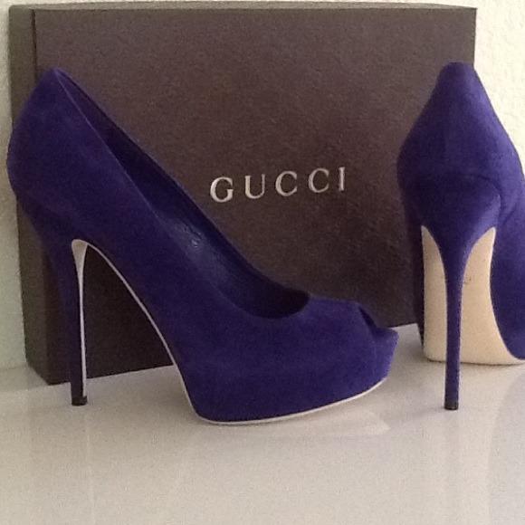 Gucci Shoes | Purple Suede Heels | Poshma