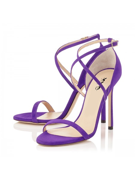 XYD Summer High Heels Strappy Sandals for Women Purple - Sandals .