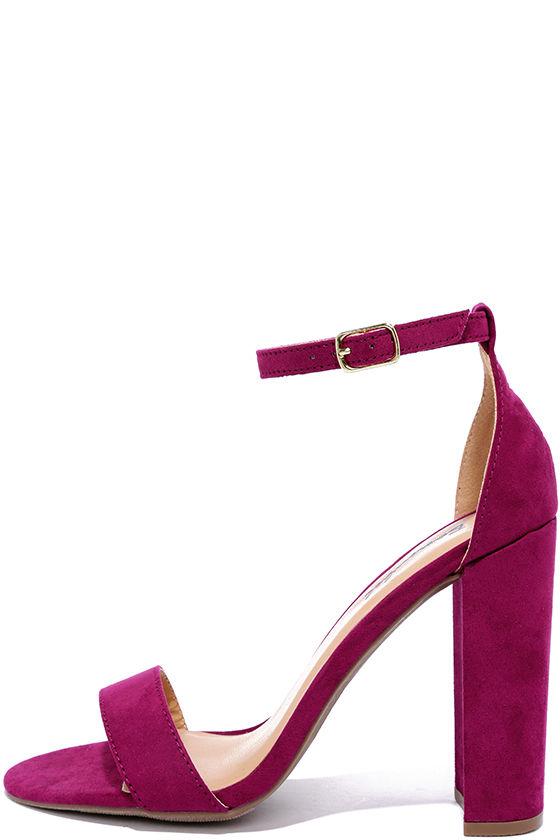 Pretty Purple Heels - Ankle Strap Heels - $28.