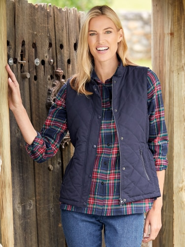 Womens Quilted Vest   Zippered Microfiber Ve