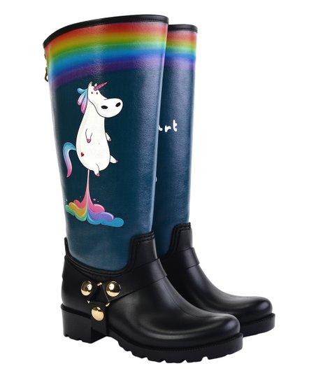 WALKRAIN Black & Blue Unicorn Rain Boot - Women | Zuli