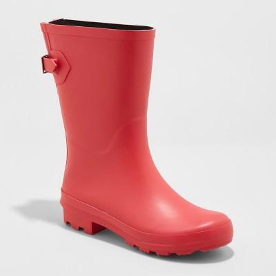 Women's Vicki Mid Calf Rain Boots - A New Day™ Red 6 : Targ