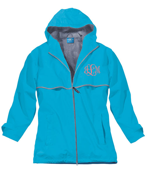 Wave Preppy Monogrammed Rain Jacket | underthecarolinamoon .