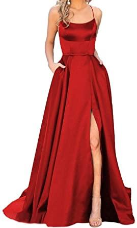 JASY Women's Spaghetti Satin Long Black Prom Dresses with Pockets .