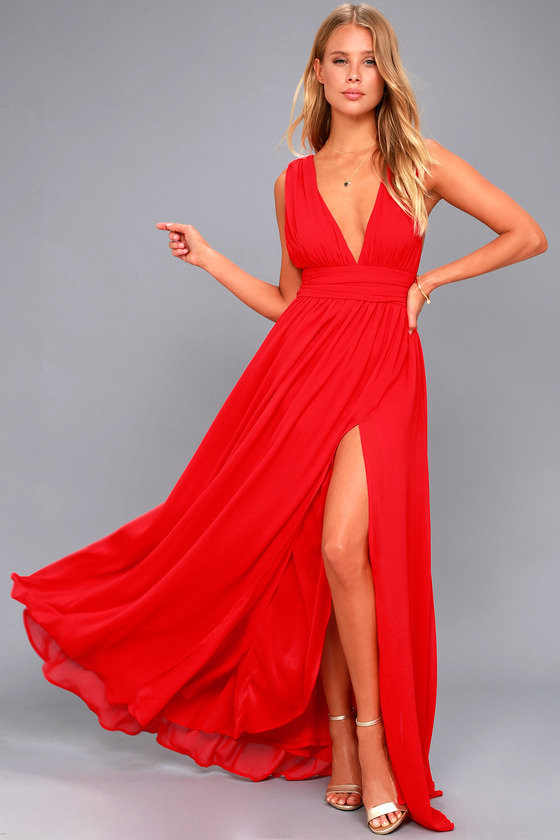Red Gown - Maxi Dress - Sleeveless Maxi Dre