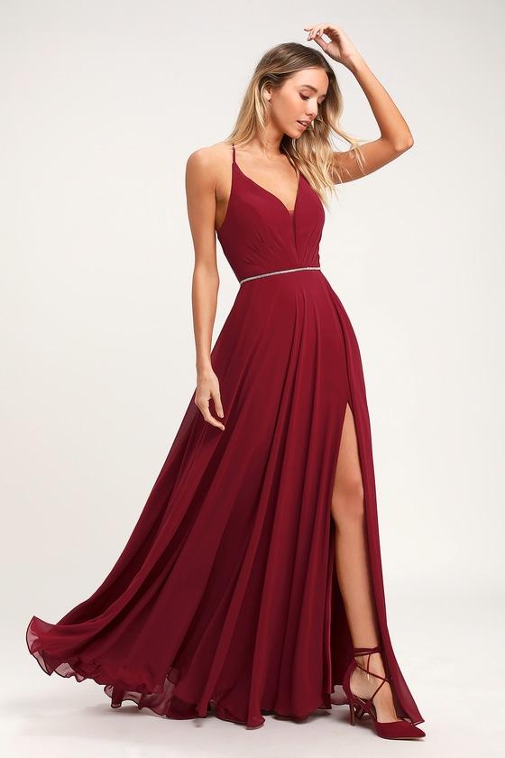 Stunning Maxi Dress - Wine Red Maxi Dress - Rhinestone Dre