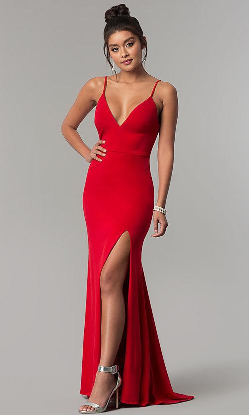 Long V-Neck Red Formal Prom Dress - PromGi