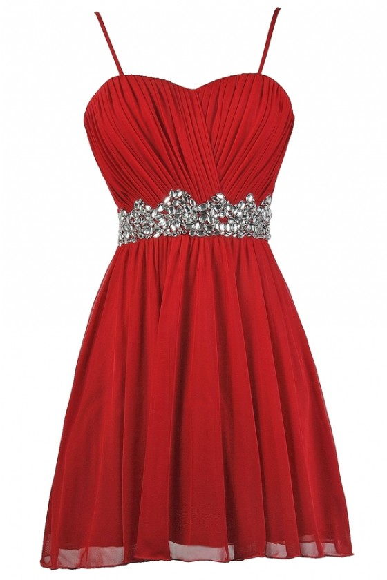 Red Embellished Party Dress, Cute Red Dress, Red Holiday Dress .