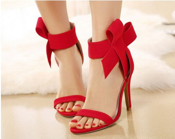 shoes, bow shoes, bow, red high heels, lovely, red shoes, bowknot .